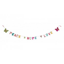 Guirlande lettres Peace Hope and Love en Lokta 180 cm Déco festive 80633