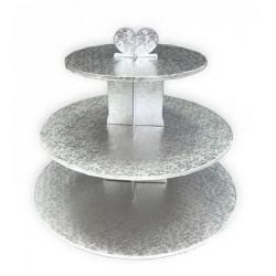 Présentoir cupcakes rond 3 étages argent 33 cm Cake Design GDPRA3