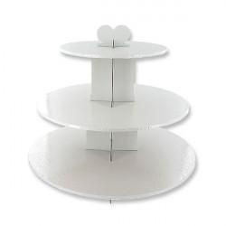 Présentoir cupcakes rond 3 étages blanc 33 cm Cake Design GDPRB3