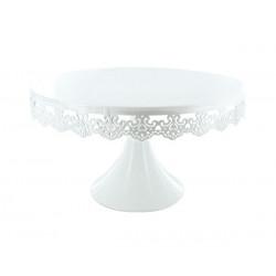 Présentoir sur pied brodé rond blanc 30 cm Cake Design TC1472