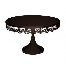Présentoir sur pied brodé rond noir 30 cm Cake Design TC1484