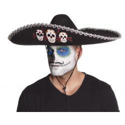 Sombrero mexicain Dia de Los Muertos noir Accessoires de fête 72184BO