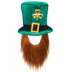 Chapeau haut de forme Saint Patrick avec barbe Accessoires de fête 44907