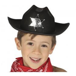 Chapeau shérif feutre noir enfant Accessoires de fête 13563