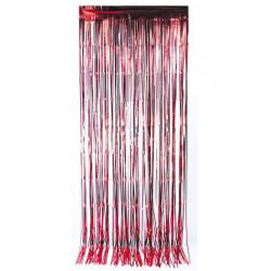 Rideau de porte lamelles métallisées rouge 2,5 m Déco festive 502703