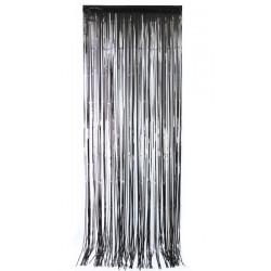 Rideau de porte lamelles métallisées noires 2,5 m Déco festive 502704