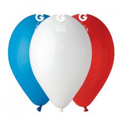 Sachet 50 ballons latex 30 cm bleu blanc rouge assortis