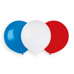 Sachet 10 ballons latex 48 cm bleu blanc rouge assortis