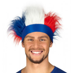 Bandeau France avec cheveux tricolores Accessoires de fête 61995