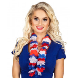 Collier hawaien bleu blanc rouge Accessoires de fête 62034