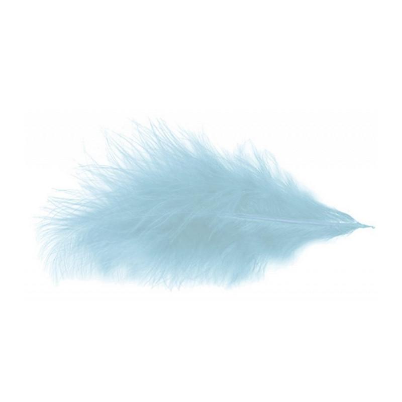 Sachet de 100 plumes 5-10 cm - Bleu pastel Déco festive 0702-35