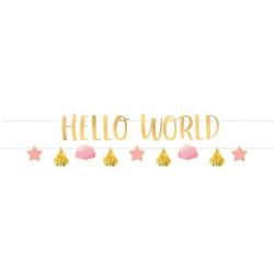 Guirlandes x 2 Hello World rose et or 177 cm Déco festive 120473