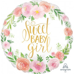 Ballon alu floral Sweet Baby Girl 43 cm Déco festive 3851501
