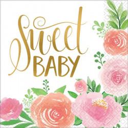 Serviettes papier x 16 floral Sweet Baby Girl 33 cm Déco festive 512165
