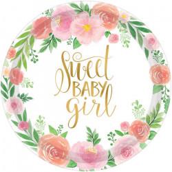 Assiettes carton x 8 floral Sweet Baby Girl 18 cm Déco festive 542165