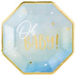 Assiettes carton octogonales x 8 Oh Baby Boy 27 cm Déco festive 592292