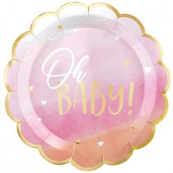 Assiettes carton festonnées x 8 Oh Baby Girl 27 cm Déco festive 592294