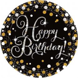 Assiettes x 8 anniversaire pétillant 23 cm - Sparkling Celebration Déco festive 9900548
