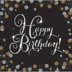 Serviettes x 16 anniversaire pétillant 33 cm - Sparkling Celebration Déco festive 9901176