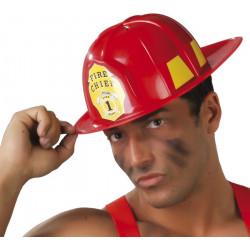 Casque pompier plastique rouge adulte Accessoires de fête 13979
