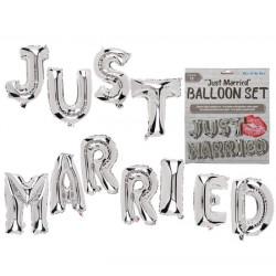 Ballons alu Just Married 40 cm Argent Déco festive 620819