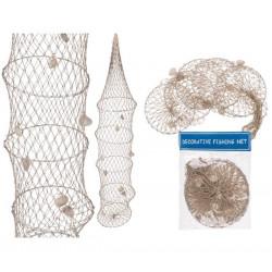 Filet de pêcheur avec coquillages 16 x 70 cm Déco festive 830296