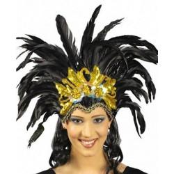 Coiffe brésilienne Rio or avec plumes noires Accessoires de fête 83486556