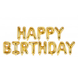 Ballon alu Happy Birthday Or 34x35cm Déco festive FB6M-019