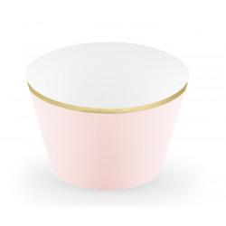 Wraps caissettes à cupcakes rose pastel et or x 6 Cake Design FM15-019