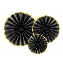 Rosace papier x 3 noir: 40-32-23 cm Déco festive RPK19-010