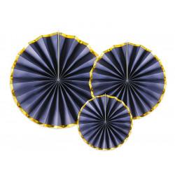 Rosace papier x 3 bleu marine: 40-32-23 cm Déco festive RPK19-074