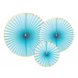 Rosace papier x 3 bleu clair: 40-32-23 cm Déco festive RPK20-001J
