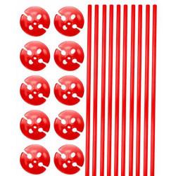 Tiges et supports de ballon rouge x 10 Déco festive 04920