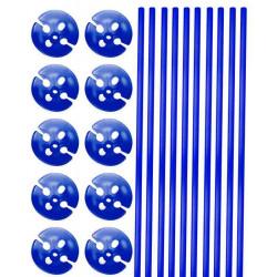 Tiges et supports de ballon bleu x 10 Déco festive 04921