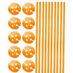 Tiges et supports de ballon orange x 10 Déco festive 04924