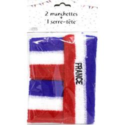 Set bandeau France et poignets éponge tricolores Accessoires de fête 25913