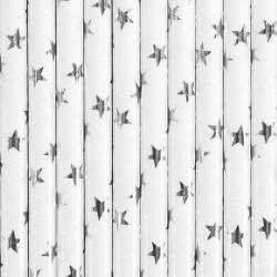Pailles blanches avec étoiles argent x 10 Déco festive SPP5M-018