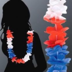 Collier de fleurs Hawaï bleu-blanc-rouge vendu par 12 Accessoires de fête LP00962