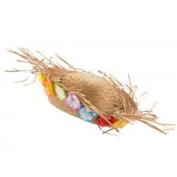 Chapeau de paille hawaï avec décoration de fleurs Accessoires de fête 41651