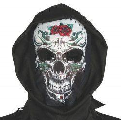 Masque squelette avec capuche noire Accessoires de fête 2559