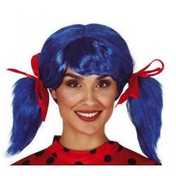 Perruque bleue avec couettes et rubans Accessoires de fête 4412