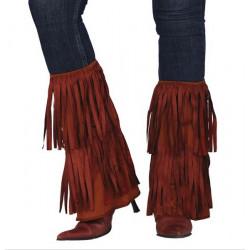 Jambières franges marron Hippie ou Indien Accessoires de fête 18849