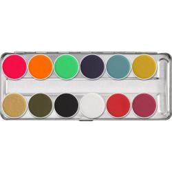 Palette maquillage Aquacolor 12 couleurs 40 ml Accessoires de fête 01104-FP
