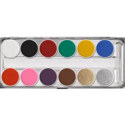 Palette maquillage Aquacolor 12 couleurs 40 ml Accessoires de fête 01104-SN