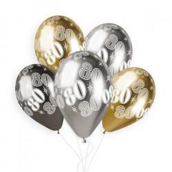 Sachet 5 ballons latex shiny 33 cm anniversaire nombre 80 Déco festive 313956