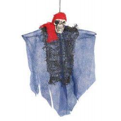 Tête de mort pirate 30 cm à suspendre halloween Déco festive 26031