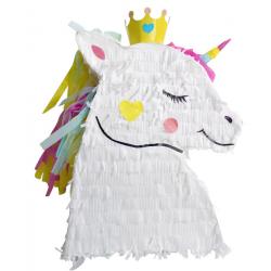 Pinata tête de licorne avec couronne 46 cm Déco festive 29522