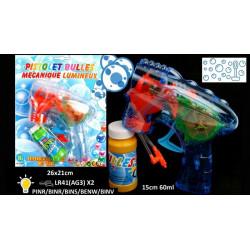 Pistolet bulles de savon avec lumière 15 cm Jouets et articles kermesse 21491