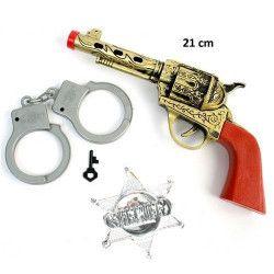 Pistolet bruiteur cowboy 21 cm avec accessoires Jouets et articles kermesse 26151