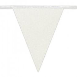 Guirlande fanions scintillante blanche 6 m Déco festive 20005